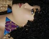 The Pyramids - Large Triangle Fabric Covered Dangle Earrings - Purple Masks