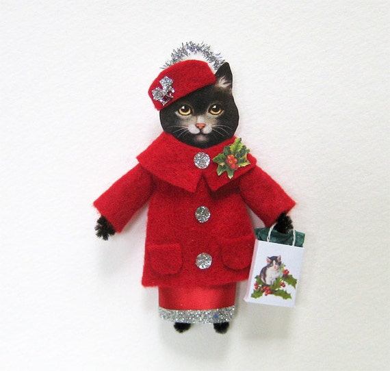 Vintage Style Christmas Ornament HOLIDAY SHOPPING CAT Black