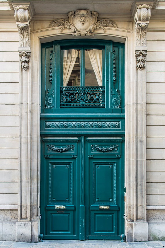 Paris photography french door travel photograph teal Gray front door meaning