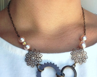 Gears, Filigree and Pearl Necklace