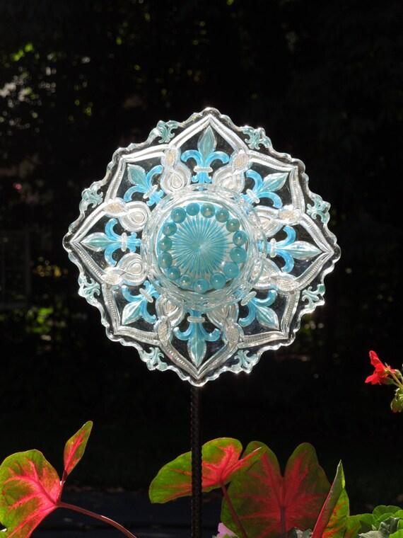 Glass Plate Garden Art Yard Art Sun Catcher on Etsy