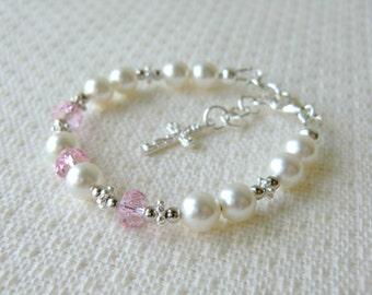 Baby Bracelet for Christening Baptism or Communion Flower Girl Bracelet Baby Shower Gift White Pearl Bracelet Sterling Silver Cross Bracelet