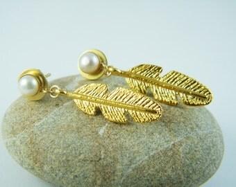 Gold feather earring bridal pearl earrings