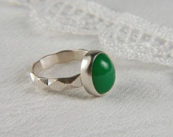 Chrysoprase Ring Artisan Ring Green Ring Metalwork Ring Friendship Ring Handmade Silver Ring Engagement Ring Artisan Jewelry
