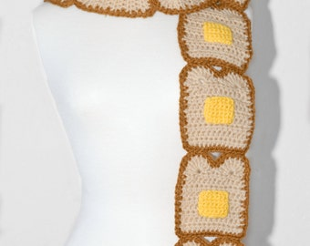Buttered Toast Crochet Scarf- Toast Scarf- Bread Scarf- Women Scarf- Crochet Scarf- Food Scarf- Kawaii