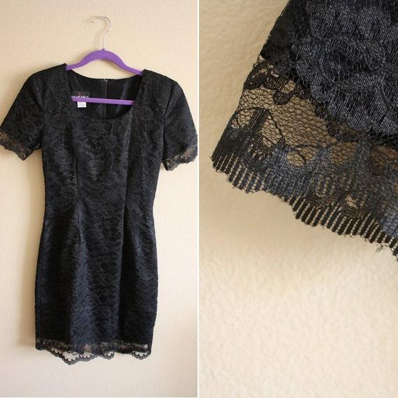 1980s Black Lace Dress // Womens Short Sleeve Scalloped Mini Dress // XS S M L xsmall small medium large