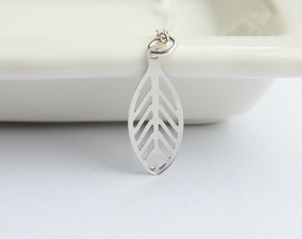 Silver leaf charm pendant bead long sterling silver silver chain necklace