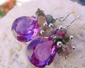 Alexandrite Quartz, tourmaline, ruby zoisite earrings
