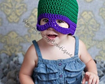 Teenage Mutant Ninja Turtles Inspired Hat - TMNT Crochet Newborn Boy Girl Costume Halloween  Photo Prop Christmas Gift Winter Outfit