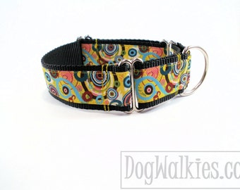 "Out of this World Dog Collar - 1.5"" (38mm) wide - Wide Martingale or Side Release - Colorful Circles Universe - Choice of size and style"