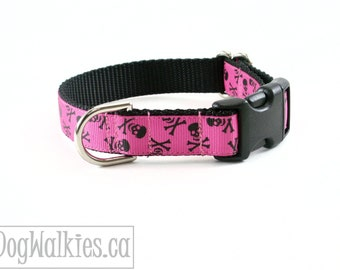 "Pink Skulls and Bones Halloween Dog Collar - 3/4"" (19mm) Wide - Choice of collar style and size - Martingale Dog Collars or Quick Release"