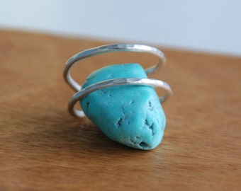 Hammered Finished Adjustable Sterling Silver Double Stacking Ring - custom made to order
