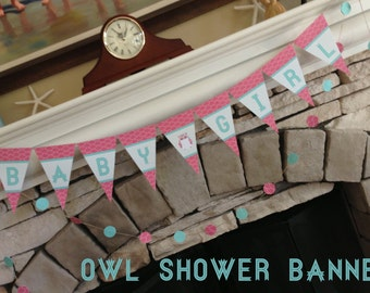 Owl 'Baby Girl' Shower banner - Pink Banner - Digital - Party Supplies - INSTANT DOWNLOAD