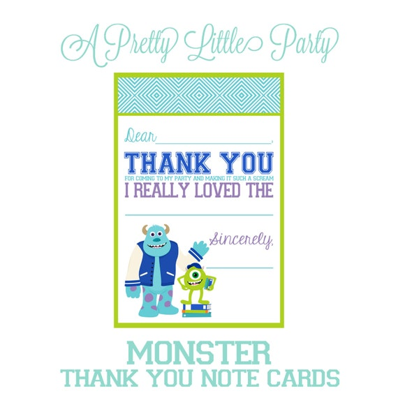 Monsters University Thank you note - University - Monster's party - INSTANT DOWNLOAD