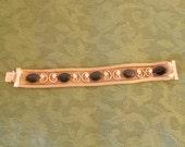 Vintage Gold Bracelet Mesh Metal Bracelet with Lapis Blue Stones