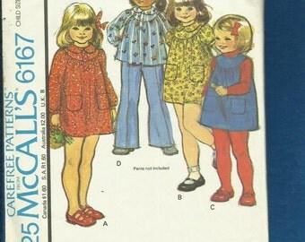Vintage 1978 McCalls 6167 Little Girls Round Yoke Dress or Jumper with Raglan Sleeves Size 5