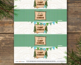 Water Bottle Labels Printable - Camp Theme