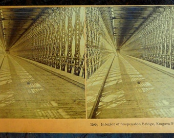 Niagara Falls Suspension Bridge c1892 Sepia Stereoview