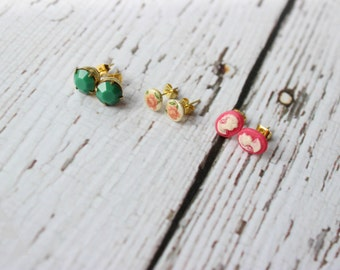 three sets of post earrings - pink cameo + vintage pink rose + emerald stone
