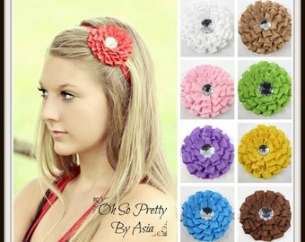 Ruffle Flower Headband - Red Purple Yellow Green Brown Tan White Turquoise Pink - Flower Headband - Infant Toddler Teen Adult - Hair Clip