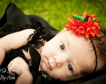 Baby Halloween Headband - Pumpkin Headband - Halloween Korker Bow Headband - Pumpkin - Orange Headband - Infant - Halloween Hair Bow