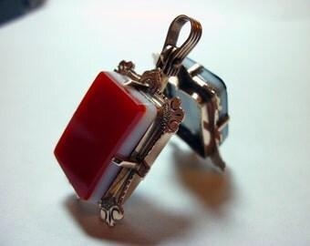 Antique 14k Rose Gold Carnelian Onyx VICTORIAN MOURNING LOCKET Watch Fob