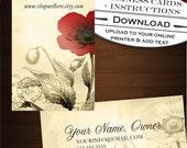 Premade Poppy Business Cards - Customizable Vintage Ephemera Floral Design - Double Sided - DIY Text via Online Printer