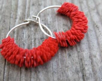 floral RED vintage sequin sterling HOOP earrings