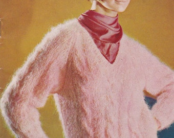 On Sale - Villawool Knitting and Crochet Pattern Book Vintage 1970s