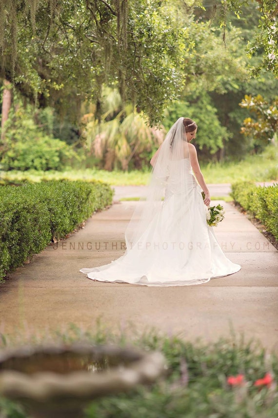 Ready to ship: White Cathedral Cascading veil with Satin Ribbon