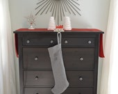 Grey Handmade Christmas Stocking  - As Featured in Style at Home Magazine November 2013