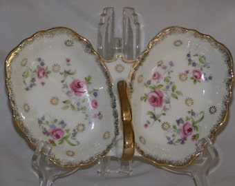 Vintage Marco Porcelain Divided Dish with Gilt Gold Edging Trim and Pretty Pink Roses
