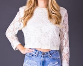 SALE 50% OFF 80s Vintage Cropped Lace Blouse in White
