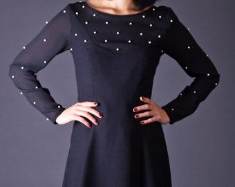 SALE 50% OFF 80s Vintage Sheer Pearl Drop Mini Dress in Black