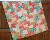Whimsical Floral Baby Girl Quilt Sanibel Handmade Orange Green Turquoise Yellow Pink Coral