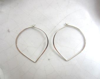 1 Pair Lotus Hoop Earrings--Sterling Silver--40 mm