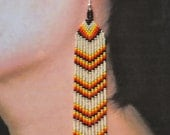 Native American Beaded Earrings--Long earrings, Chevron style, hand beaded, Red Earrings, Red, Orange and Yellow Earrings
