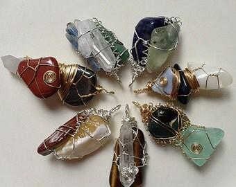 Embellished Sustainable Silver Chakra Pendant Set; Seven 3-Stone Pendants - Custom Made Healing Tools - Read Description