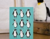 Marching Penguins Hand Illustrated Blank Greetings Card
