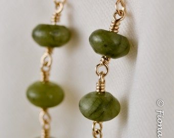 Green Serpentine Gold Earrings