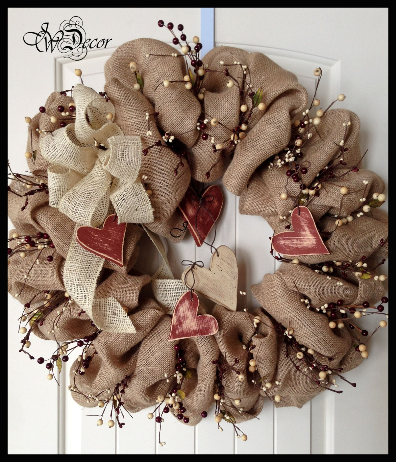Burlap Wreaths Valentines Wreaths Heart Wreath Berries Wreath