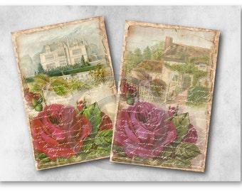 Handwritten Rose Papers - Digital Collage Sheet Download 950 - Instant Download Printables