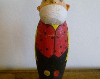 French Vintage Classic Comic Character Figurine Box Hand Painted Turned Wood.
