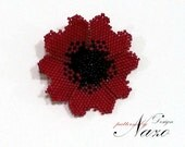 Beaded Flower - Corn Poppy... - Beaded Pendant Brooch Tutorial
