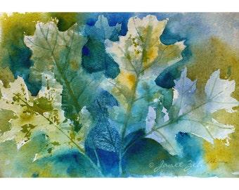 Oak Leaf Painting Autumn Leaves Original Watercolor Tree Art 7x11 by Janet Zeh Original Art