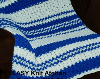 Easy Knit Blanket Pattern - Quick & Easy 2 Row Repeat! Size 13 Needles!1 School Colors.  Team Colors.