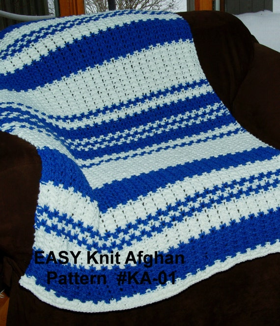 Knit Blanket Pattern Size 13 Needles : Easy Knit Blanket Pattern Quick & Easy 2 Row Repeat Size 13