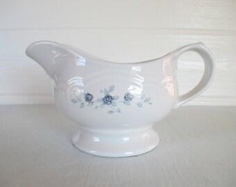 Gravy Boat ~ Vintage Pfaltzgraff Pottery Pitcher, Blue Roses 'Poetry' Pattern Stoneware Server / Country Cottage Shabby Chic Farmhouse Decor