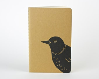Bird of Spring, Travel journal. Small journal with inner pocket. Stationery. Birdwatching Field Notebook. Put a bird on it.