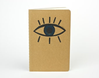 Evil Eye Travel journal. Small journal with inner pocket. Stationery Notebook